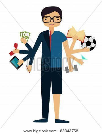 Time management. A man in a suit doing several things at once. Vector illustration