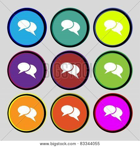 Speech Bubble Icons. Think Cloud Symbols. Set Colourful Buttons. Vector
