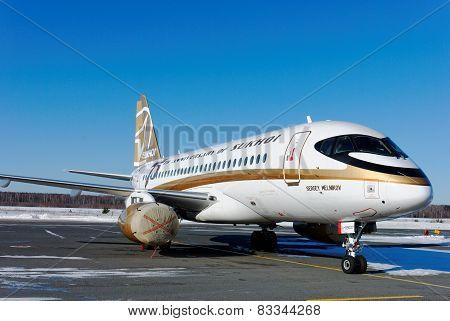 NIZHNY NOVGOROD. RUSSIA. FEBRUARY 17, 2015. Airplane Sukhoi Superjet SSJ-100