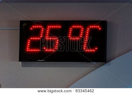 Display of the electronic thermometer indoors. Shows temperature