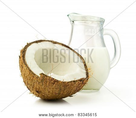 Coconut And Coconut Milk In A Glass Jar