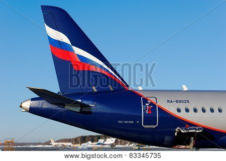 NIZHNY NOVGOROD. RUSSIA. FEBRUARY 17, 2015.SSJ-100 plane of the company Aeroflot
