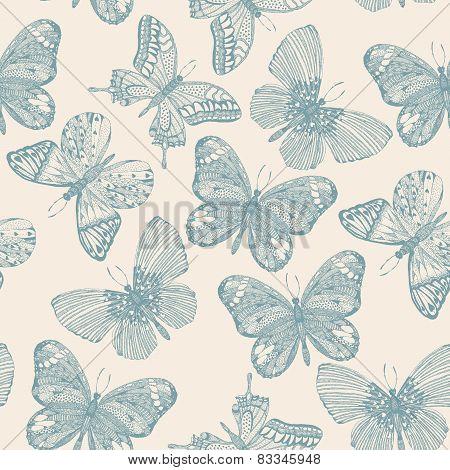 Butterflies seamless pattern in doodle style.