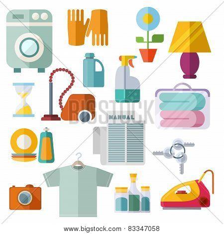 Housekeeping Theme Flat Icons On White Background
