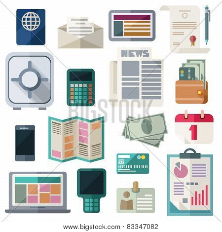 Office Workspace And Finance Flat Icons On White Background