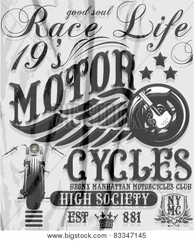 Motorcycle raceway typography, t-shirt graphics, vectors