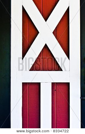 Red Barn Door With White Trime