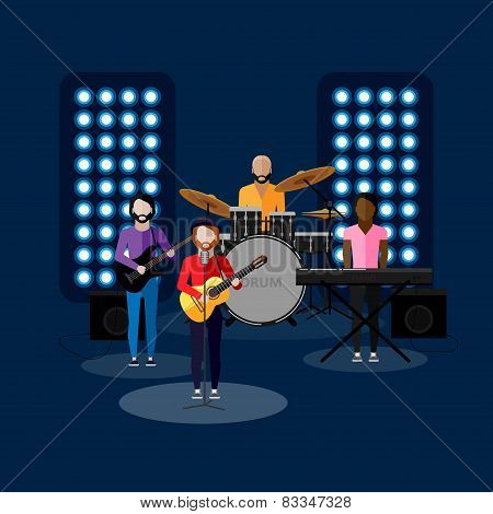 flat illustration of music band on stage. entertainment show