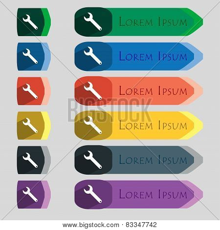 Wrench Key Sign Icon. Service Tool Symbol. Set Of Colored Buttons. Vector