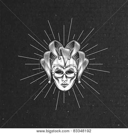 illustration of engraving venetian carnival mask or jester