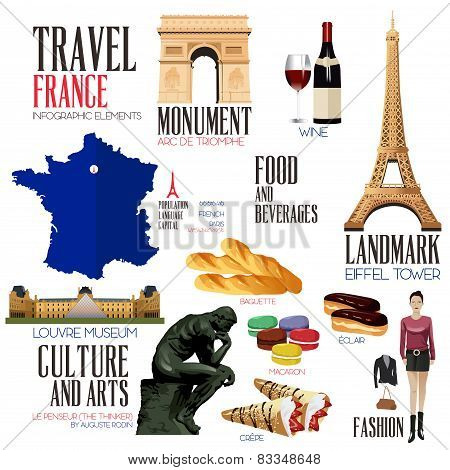 Infographic Elements For Traveling To France