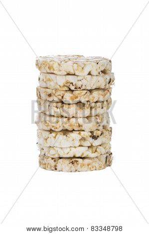 Mini Puffed Rice Cake With Cumin And Salt Isolated