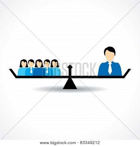 Business Teamwork and leadership comparison concept stock vector