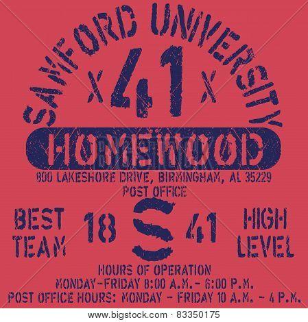Football athletic sport Samford typography, t-shirt graphics, vectors