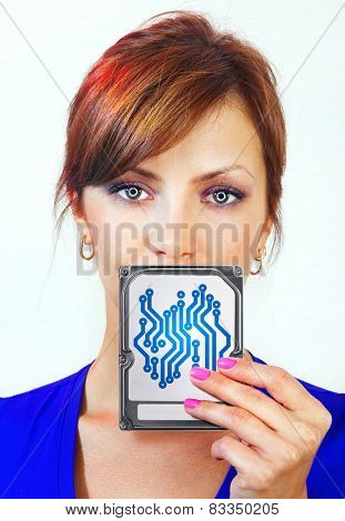 beautiful female android holds digital device on her hand