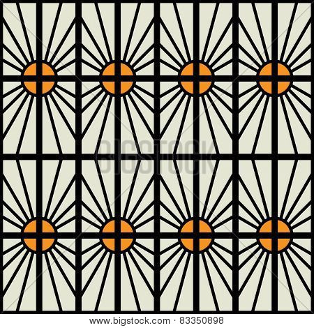 art black and gold yellow  graphic geometric seamless pattern, square background with symbol of sun ornament in art deco style