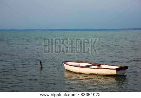 Lonely boat on Balaton lake, Hungary