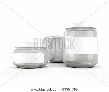 Glass Jars Isolated On White Background