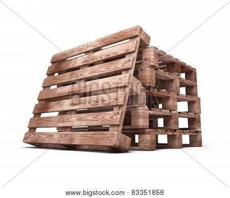 Stack Of Wooden Pallets Close-up