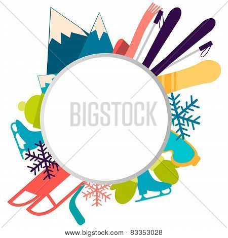 Winter background with place for text. Sports accessories and equipment. Vector illustration