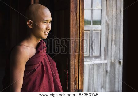 Happy Novice Buddhist Monk At Indein Village, Inle Lake, Myanmar