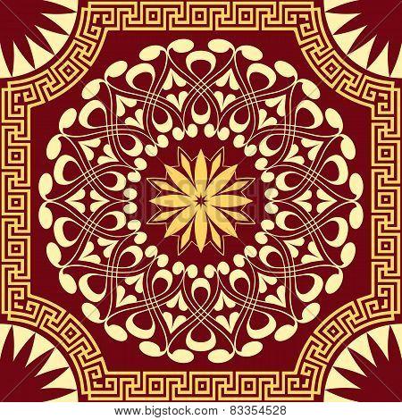 vector gold pattern of spirals, swirls and chains