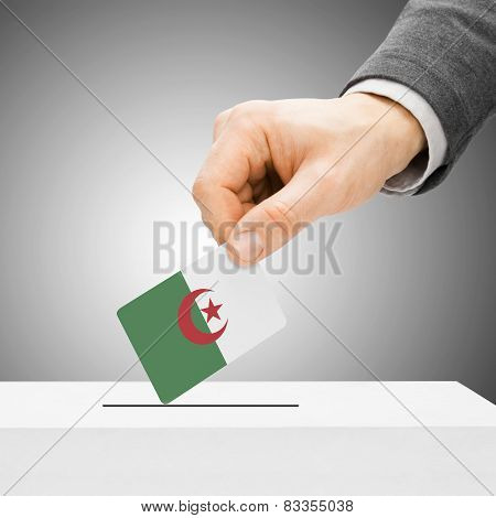 Voting Concept - Male Inserting Flag Into Ballot Box - Algeria
