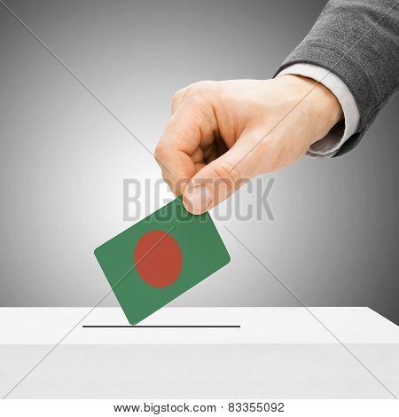 Voting Concept - Male Inserting Flag Into Ballot Box - Bangladesh