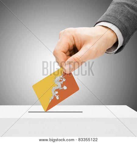 Voting Concept - Male Inserting Flag Into Ballot Box - Bhutan
