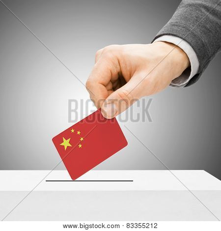 Voting Concept - Male Inserting Flag Into Ballot Box - People's Republic Of China