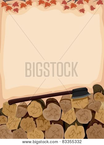 Background Illustration of an Axe Sitting Atop a Pile of Logs
