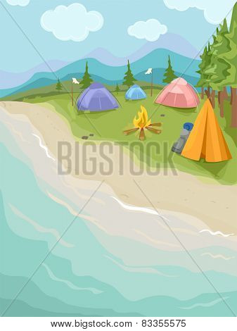 Illustration of Camping Tents Set Up Near the Beach