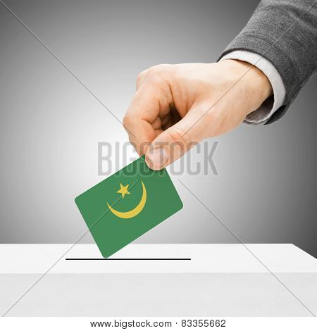 Voting Concept - Male Inserting Flag Into Ballot Box - Mauritania
