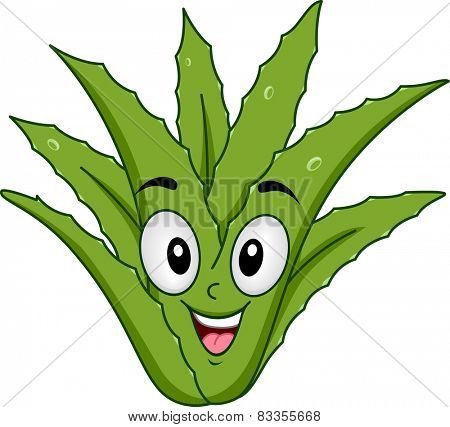 Mascot Illustration of an Aloe Vera Smiling Happily