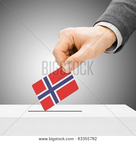 Voting Concept - Male Inserting Flag Into Ballot Box - Norway