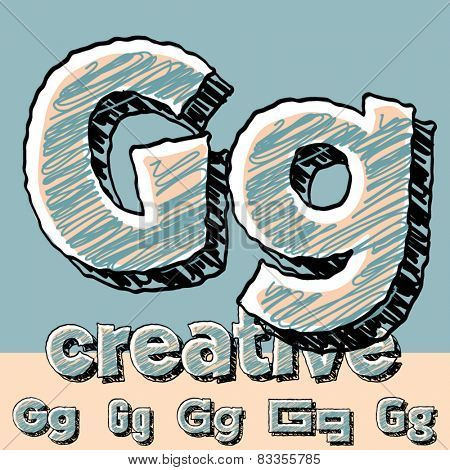 Vector set of funny sketch alphabet. Vector illustration of hand drawing font. Letter G