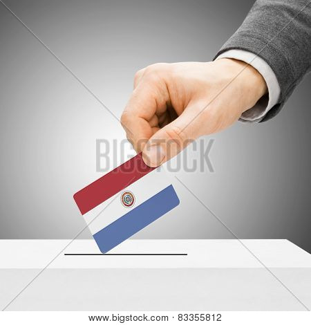Voting Concept - Male Inserting Flag Into Ballot Box - Paraguay
