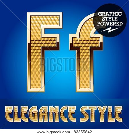 Vector set of rich shining alphabet with golden border. Letter F