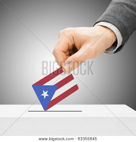 Voting Concept - Male Inserting Flag Into Ballot Box - Puerto Rico