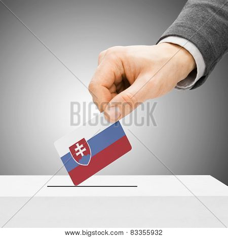 Voting Concept - Male Inserting Flag Into Ballot Box - Slovakia