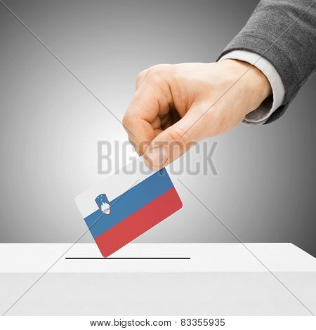 Voting Concept - Male Inserting Flag Into Ballot Box - Slovenia