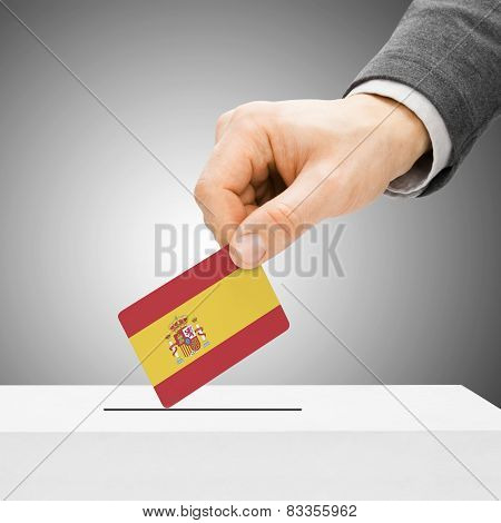 Voting Concept - Male Inserting Flag Into Ballot Box - Spain