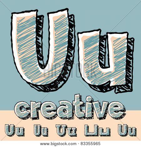 Funny sketch alphabet. Vector illustration of hand drawing font. Letter U