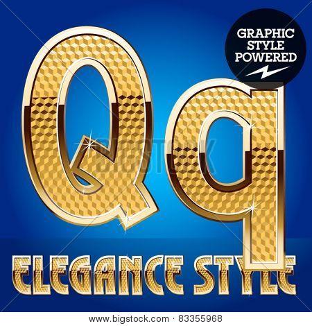 Vector set of rich shining alphabet with golden border. Letter Q