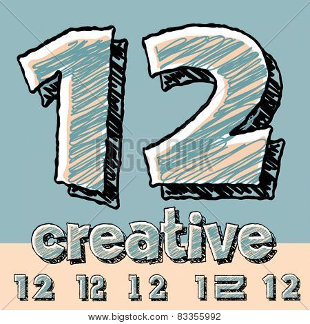 Vector set of funny sketch alphabet. Vector illustration of hand drawing font. Numbers 1 2