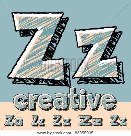 Funny sketch alphabet. Vector illustration of hand drawing font. Letter Z