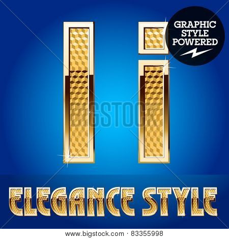 Vector set of rich shining alphabet with golden border. Letter I