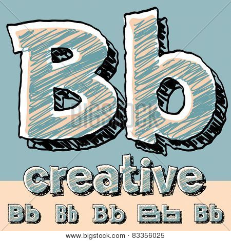 Vector set of funny sketch alphabet. Vector illustration of hand drawing font. Letter B