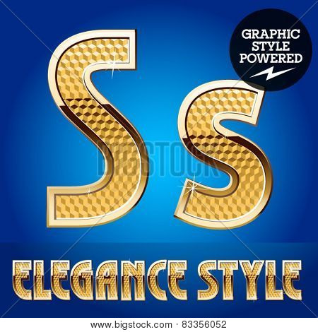 Vector set of rich shining alphabet with golden border. Letter S