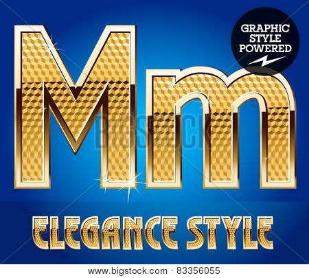 Vector set of rich shining alphabet with golden border. Letter M